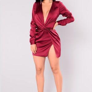 Burgundy silk dress
